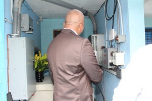 Hon. Spencer Brand, Minister of Water Services on Nevis touring the pump station at Maddens Estate after a handing over ceremony on October 05, 2018