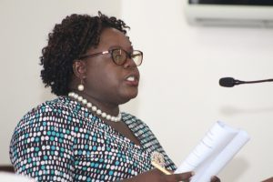 Hon. Hazel Brandy-Williams, Junior Minister with responsibility for Health on Nevis, at a sitting of the Nevis Island Assembly on October 04, 2018
