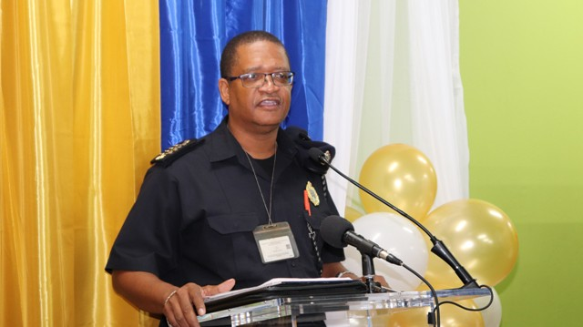 Acting Comptroller of Customs in St. Kitts and Nevis Mr. Kennedy DeSilva at the a renaming ceremony of the Customs Courier Facility in Charlestown on October 25, 2018