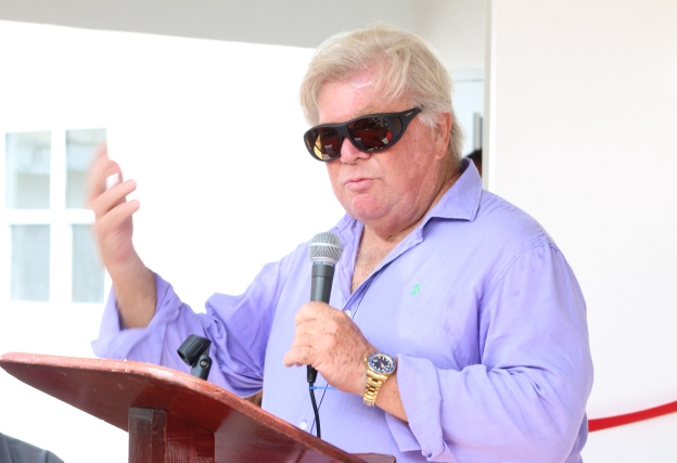 Mr. Richard Lupinacci, owner of the Hermitage Plantation Inn on Nevis delivering remarks at a ceremony to commission a new Processing Wing at the Department of Agriculture's abattoir at Prospect on October 17, 2018
