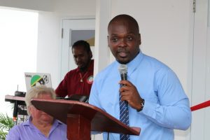 Mr. Randy Elliott, Director of the Department of Agriculture on Nevis delivering remarks at a ceremony to commission a new Processing Wing at the government-owned Abattoir at Prospect on October 17, 2018