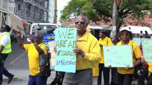Hon. Eric Evelyn, Minister responsible for seniors on Nevis, joins in the annual Seniors March in Charlestown on October 05, 2018 hosted by the Seniors Division at the Department of Social Services in the Ministry of Social Development in the Nevis Island Administration