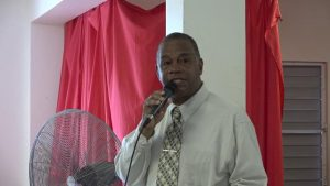 Hon. Eric Evelyn, Minister responsible for seniors and youth of Nevis, delivering remarks at the Intergenerational Exchange at the Charlestown Primary School on October 23, 2018, an activity hosted by the Ministry of Social Development through the Seniors Division as part of the month-long celebration of the elders on Nevis