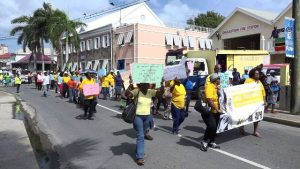 The annual Seniors March hosted by the Seniors Division at the Department of Social Services in the Ministry of Social Development in Nevis winding its way through Charlestown on October 05, 2018