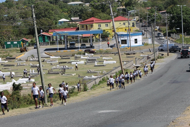 Students participating in the Caribwave Tsunami Exercise in March 2018