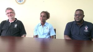 (l-r) Mr. Roderick Stewart, Director at the Montserrat Observatory, Mrs. Stacey Edwards, Education and Outreach Manager at the University of the West Indies Seismic Research Centre and Mr Clevon Ash Contact Officer 1 at the Centre