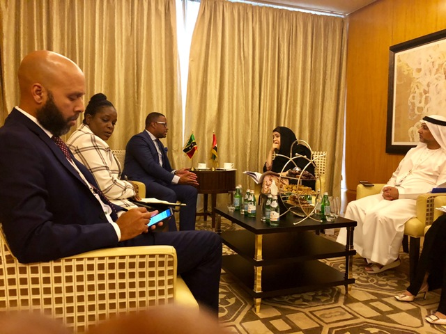 Mr. Justin Hawley, Consul General of St. Kitts and Nevis in Dubai; Ms. Kaye Bass, Permanent Secretary in the Ministry of Foreign Affairs; Hon. Mark Brantley Minister of Foreign Affairs in St. Kitts and Nevis; Her Excellency Reem Al Hashimy, Minister of State for International Cooperation in the United Arab Emirates Ministry of Foreign Affairs and other officials at a meeting at The Ritz-Carlton Dubai International Financial Centre on November 25, 2018