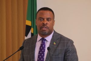 Hon. Mark Brantley, Premier of Nevis and Minister of Finance, at his final press conference for 2018 at the Cabinet Room at Pinney's Estate on November 20, 2018