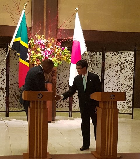 Mr. Taro Kono, Foreign Minister of Japan and Hon. Mark Brantley, St. Kitts and Nevis Minister of Foreign Affairs
