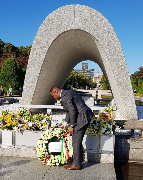 Hon. Mark Brantley, Minister of Foreign Affairs and Aviation in St. Kitts and Nevis lays a wreath at the Hiroshima Peace Memorial Park in Hiroshima City on November 03, 2018
