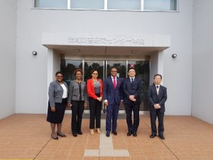 Visiting the Kyoto University Disaster Prevention Research Institute on November 05, 2018. (L-r) Ms. Shanelle Simmonds, Foreign Service Officer; Her Excellency Jasmine Huggins, Non-resident Ambassador of St. Kitts and Nevis to Japan; Mrs. Sharon Brantley; Hon. Mark Brantley, Minister of Foreign Affairs and Aviation with Professor Norio Maki; and Dr. Tetsuya Hiraishi, Professor Coastal Sedimentary Environment at the Kyoto University