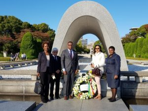 (L-r) Her Excellency Jasmine Huggins non-resident Ambassador to Japan; Mr. Shiga Kenji, Director Hiroshima Peace Memorial Museum; Hon. Mark Brantley, Minister of Foreign Affairs and Aviation in St. Kitts and Nevis; Mrs. Sharon Brantley and Ms. Shanelle Simmonds, Foreign Service Officer