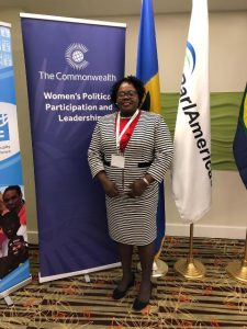 Hon. Hazel Brandy-Williams in the Nevis Island Administration attending a regional inter-parliamentary meeting for gender equality in Barbados co-hosted by ParlAmericas