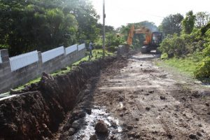Ongoing work on a section of Craddock Road in the road rehabilitation project