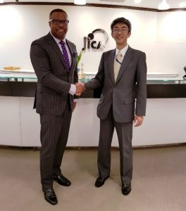 (l-r) Hon. Mark Brantley, Foreign Affairs Minister in St. Kitts and Nevis meeting with Mr. Shigeru Maeda, Senior Vice-President of the Japan International Cooperation Agency in Japan on November 02, 2018