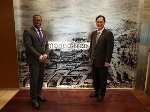 (L-r) Hon. Mark Brantley, Minister of Foreign Affairs and Aviation in St. Kitts and Nevis and Mr. Takahiro Nakamae, Director General of Latin American and Caribbean Affairs, Bureau of the Ministry of Foreign Affairs in Japan