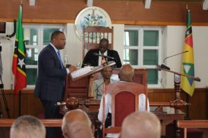 Hon. Mark Brantley making his presentation at a Nevis Island Assembly sitting at Hamilton House in Charlestown (file photo)