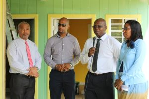 (L-r) Hon. Spencer Brand, Acting Premier of Nevis and Minister of Public Works; Mr. Raoul Pemberton, Director of the Public Works Department; Dr. Ernie Stapleton, Permanent Secretary in the Ministry of Communications and Works; and Mrs. Janice Richards, Principal at the Ivor Walters Primary School on site at the Ivor Walters Primary School expansion project on November 01, 2018