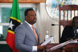 Hon. Mark Brantley, Premier of Nevis and Minister of Finance making his presentation at the Nevis Island Assembly sitting on December 28, 2018