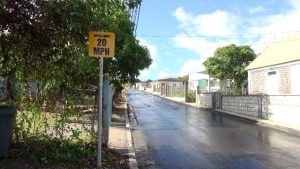 One of the speed limit signs erected along the eastern side of the newly constructed Shaws road in phase one of the Shaws Road Improvement Project