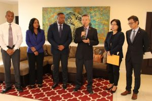 (L-r) Mr. Gary Pemberton, Administrator at the Alexandra Hospital; Mrs. Nicole Slack-Liburd, Permanent Secretary in the Ministry of Health; Hon. Mark Brantley, Premier of Nevis and Minister of Health; His Excellency Tom Lee, Resident Ambassador of the Republic of China (Taiwan) to St. Kitts and Nevis; Ms. Cynthia Hung, First Secretary at the Embassy of the Republic of China (Taiwan); and Mr. Feng-Ta Tsai of the Taiwan International Cooperation and Development Fund at a handing over ceremony at Mr. Brantley's Pinney's Estate office on December 04, 2018