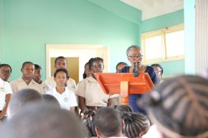 Deputy Governor-General of Nevis Her Honour Hyleeta Liburd addressing students at the Gingerland Secondary School on January 23, 2019