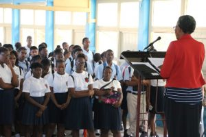 Deputy Governor-General of Nevis Her Honour Hyleeta Liburd addressing students at the Charlestown Secondary School on January 25, 2019
