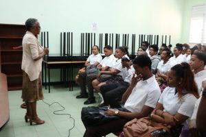 Deputy Governor-General of Nevis Her Honour Hyleeta Liburd addressing students at the Nevis Sixth Form College on January 28, 2019