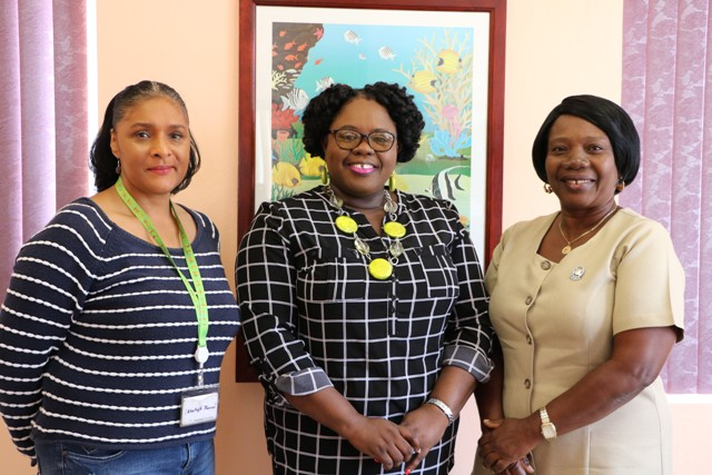 (L-r) Ms. Shelagh James Communications Specialist the Health Promotion Unit, Hon. Hazel Brandy-Williams, Junior Minister of Health on Nevis and Nurse Ermine Jeffers, Coordinator of Community Nursing Services at the minister's Charlestown office on January 18, 2019