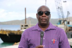 Hon. Alexis Jeffers, Deputy Premier of Nevis and Area Representative for St. James' Parish at the construction site of the new water taxi pier at Oualie Bay on January 29, 2019