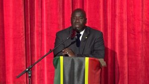 Hon. Alexis Jeffers, Deputy Premier of Nevis and Minister of Agriculture in the Nevis Island Administration making his presentation at the opening ceremony of Agenda 2019, hosted by the Ministry of Agriculture at the Nevis Performing Arts Centre on January 21, 2019