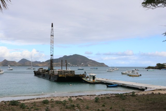 The barge from Sea Cure Marine Construction N.V on the construction site of the new water taxi pier at Oualie Bay on January 29, 2019