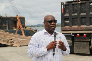Hon. Alexis Jeffers, Deputy Premier of Nevis, Minister of Natural Resources and Chairman of the Nevis Housing and Land Development Corporation's Board of Directors at the Long Point Port on January 16, 2019