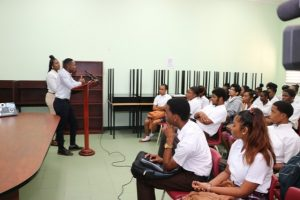 Ms. Fredicia Liburd Assistant News Editor/anchor and Mr. Chevaun Walwyn Producer at the Department of Information, making presentations to students at the Nevis Sixth Form College on January 28, 2019 as part of the department's awareness week of activities