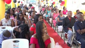 """Some of those present at the107th birthday celebration of Ms. Celian """"Martin"""" Powell, the oldest living person on St. Kitts and Nevis on January 19, 2019, at the Flamboyant Nursing Home"""