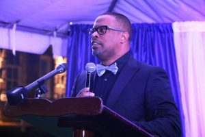 Hon. Mark Brantley, Premier of Nevis, delivering remarks at the First Congratulatory Reception for University Graduates hosted by him and First Lady Sharon Brantley, on the grounds of Government House at Belle Vue on February 09, 2019