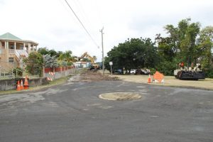 Employees from the Public Works Department working on the second section of Phase 1of the Bath Village Road Rehabilitation Project on February 13, 2019