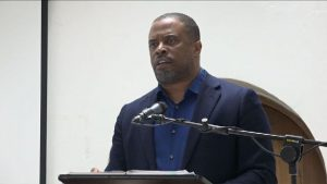 Hon. Mark Brantley, Premier of Nevis and Federal Minister of Foreign Affairs and Aviation, delivering remarks at a public consultation hosted by the Federal Government, the Team Unity Administration, at the St. Paul's Anglican Church Hall on February 19, 2019. It was one of the activities held in Nevis as part of its 4th anniversary celebrations.