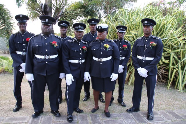 The eight awardees for 2018 at the Royal St. Christopher and Nevis Police Force (Nevis Division) Constables' Awards Ceremony and Dinner hosted by the Strategic Planning Group at the Occasions Entertainment Arcade at Pinney's Estate on February 23, 2019. (Front row l-r) Constable Trevin Mills, Constable Glenville Nisbett, and Woman Constable Cherilyn Matthew-Best. (Back row l-r) Constable Maxim Isaiah, Constable Carl Gordon, Constable Lowell Wallace, Constable Kareem Romney, and Constable Bisette Bentley