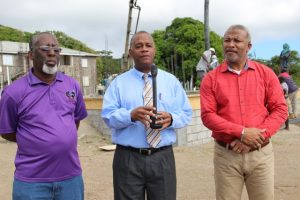 "(L-r) Mr. Antonio ""Abonaty"" Liburd, Executive Director of the Culturama Secretariat, is overseeing the construction of the Gingerland Cultural Centre; Hon. Eric Evelyn, Minister of Culture; and Hon. Spencer Brand, Minister of Public Works, at the construction site of the Gingerland Cultural Centre on Friday, February 01, 2019"