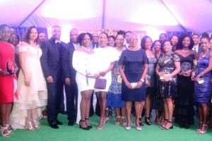 Photo caption: Some of the 32 university graduates with Hon Mark Brantley, Premier of Nevis, and Her Honour Hyleeta Liburd, Deputy Governor-General of Nevis (first row second from right), First Lady Mrs. Sharon Brantley; Hon. Eric Evelyn (second, third and fourth from right respectively in the second row) at the First Congratulatory Reception for University Graduates hosted by Premier Brantley and First Lady Mrs. Sharon Brantley at Government House at Belle Vue on February 09, 2019