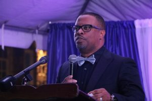 Hon. Mark Brantley, Premier of Nevis, delivering remarks at the First Congratulatory Reception for University Graduates hosted by himself and First Lady Mrs. Sharon Brantley at Government House at Belle Vue on February 09, 2019