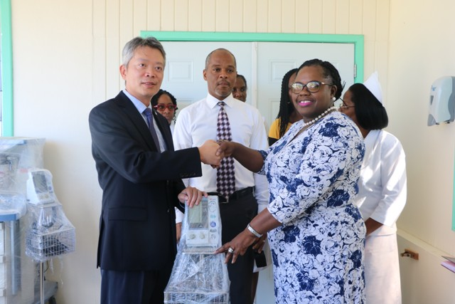 His Excellency Mr. Tom Lee, Republic of China (Taiwan) Resident Ambassador to St. Kitts and Nevis hands over a gift package of medical equipment and supplies to Hon. Hazel Brandy-Williams, Junior Minister of Health on Nevis at a handing over ceremony at the Alexandra Hospital on February 12, 2019