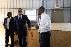(l-r) Hon. Alexis Jeffers, Deputy Premier of Nevis and Minister of Disaster Management; Hon. Mark Brantley, Premier of Nevis, inspecting disaster management equipment at the Nevis Disaster Management Department's warehouse at Long Point during a Cabinet tour on February 20, 2019