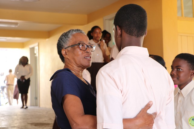 Her Honour Hyleeta Liburd, Deputy Governor-General on Nevis, interacting with students at the Gingerland Secondary School on January 25, 2019