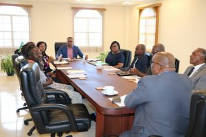 Dr. Hon. Timothy Harris; Hon. Mark Brantley, Premier of Nevis (head of the table), members of the St. Kitts and Nevis Marijuana Commission and some members of the Federal Cabinet at the Nevis Island Administration's Cabinet Room at Pinney's Estate on February 18, 2019