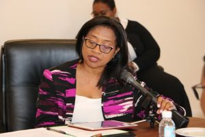 Dr. Hazel Laws Chairman of the St. Kitts and Nevis Marijuana Commission at the Nevis Island Administration's Cabinet Room at Pinney's Estate on February 18, 2019