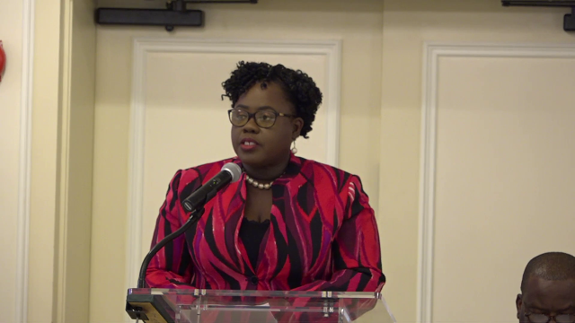 Hon. Hazel Brandy-Williams, Junior Minister of Health in the Nevis Island Administration at the 2nd Biannual Regional Forum on the Sustainable Development Goals on March 27, 2019 at the Four Seasons Resort, Nevis.