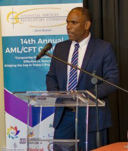 Mr. Colin Dore, Deputy Chairman, Financial Services Regulatory Commission, gives brief remarks during the Opening Ceremony of the 14th Annual AML/CFT Conference on March 11, 2019 at the Four Seasons Resort Nevis