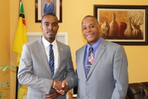 Hon. Eric Evelyn, Minister of Youth, Sports and Culture in the Nevis Island Administration welcomes Mr. Javan E. James, Senator in the 33rd Legislature of the United States Virgin Islands, to his office in Charlestown and to Nevis during a courtesy call on March 11, 2019